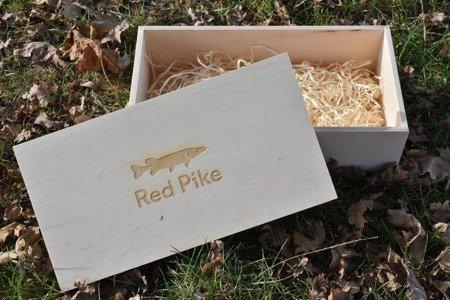 Drewniane pudełko na prezent wędkarski  36 x 19 x 12 cm